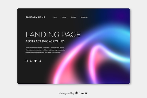 Landing page with nothern lights at its corner