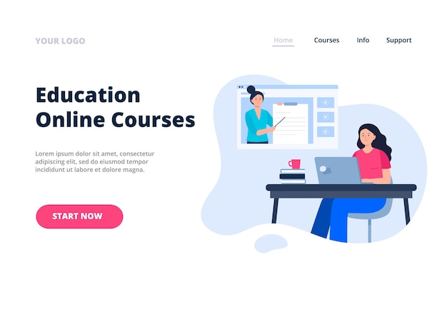 온라인 교육 개념이 있는 방문 페이지