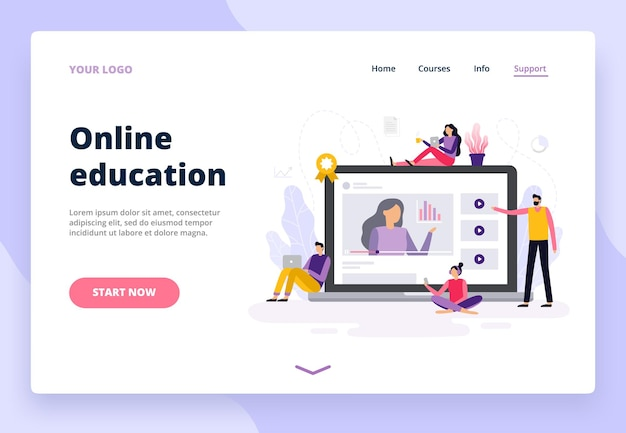 Landing page with online education in flat design