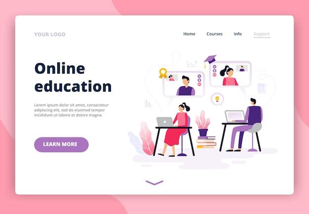 フラットデザインのオンライン教育を含むランディングページ