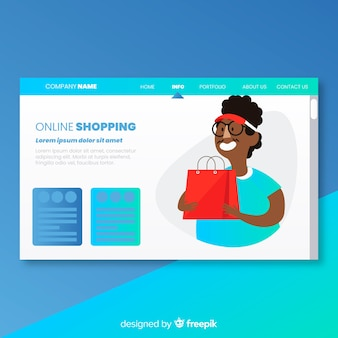 Landing page with online shopping concept