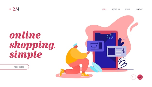 Landing page with online shopping. smartphone turned into internet shop. concept of mobile marketing and e-commerce with man character shopping on phone webpage, web site.