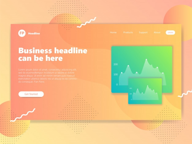 Landing page with orange background template vector eps
