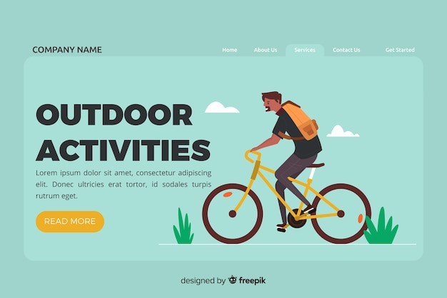 Landing page with outdoor activities concept