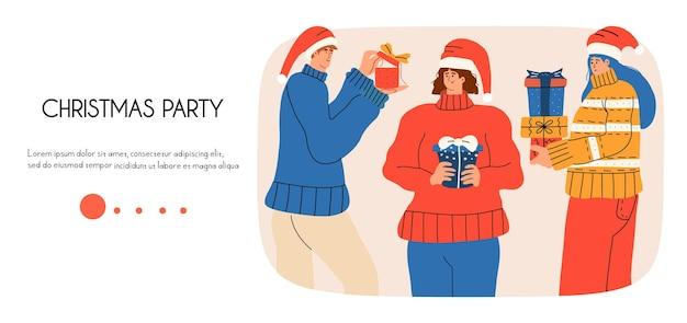 Целевая страница с людьми, которые дарят друг другу подарки на рождество и новый год. деловая веб-страница, баннер. векторная иллюстрация в плоском стиле