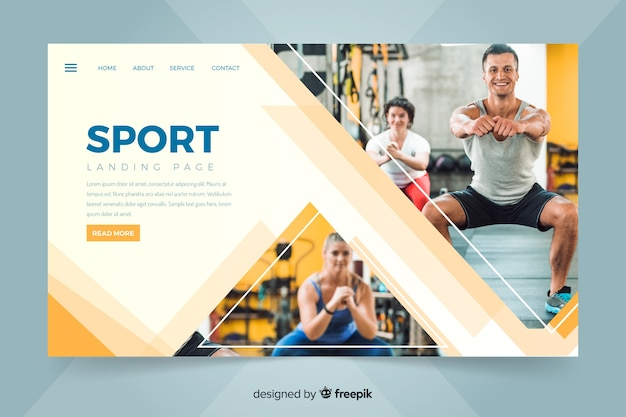 Landing page with people making sport