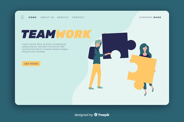 Landing page with persons connecting puzzle