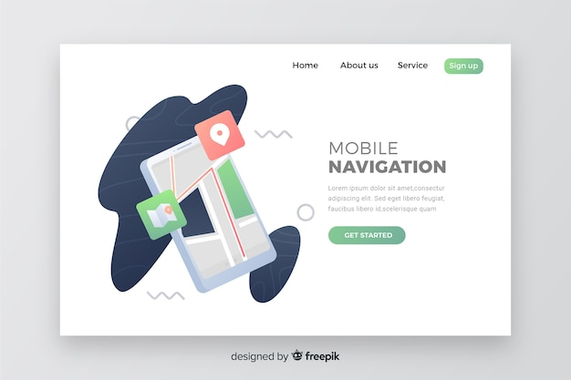 Landing page with phone for business concept