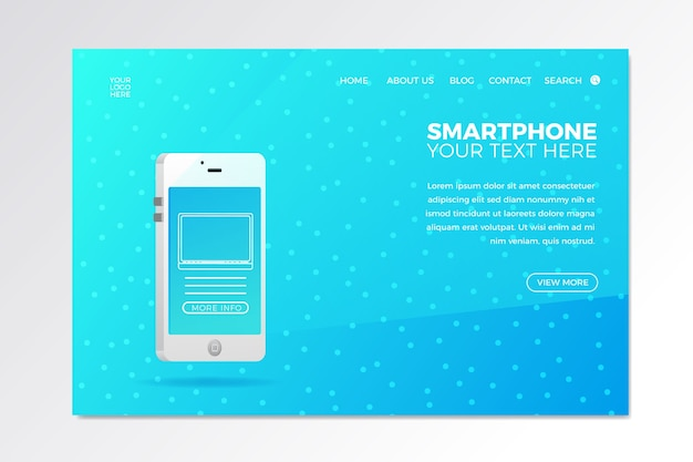 Landing page with phone for business design