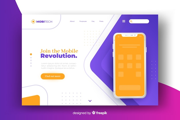 Landing page with phone design for template