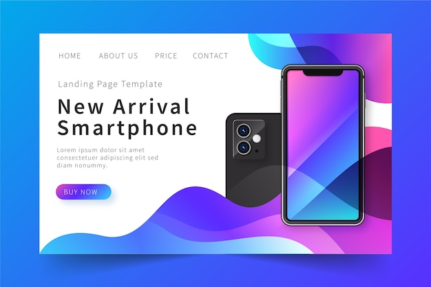 Landing page with phone for web site concept