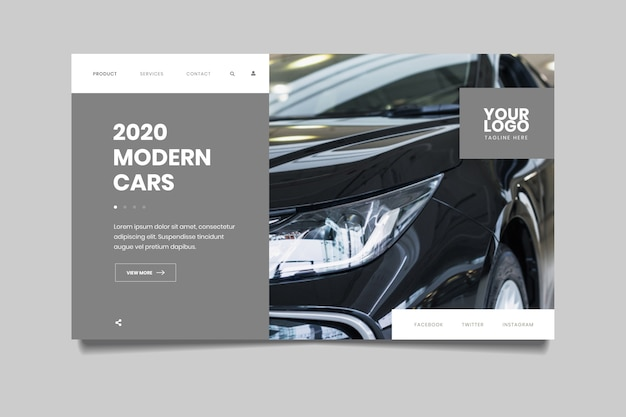 Landing page with photo of black car