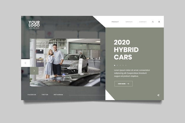 Landing page with photo of car and couple