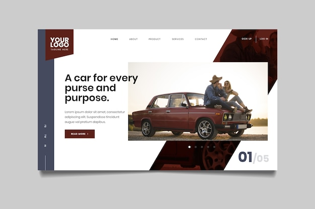 Landing page with photo of car