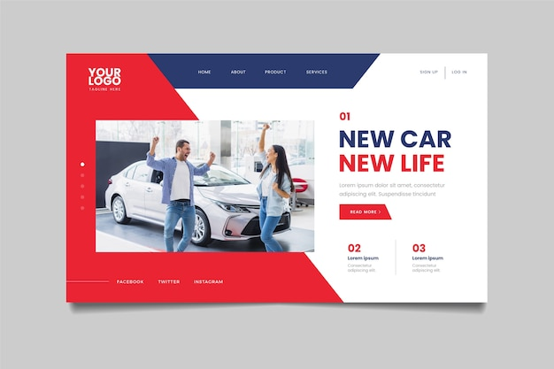 Landing page with photo of couple next to car