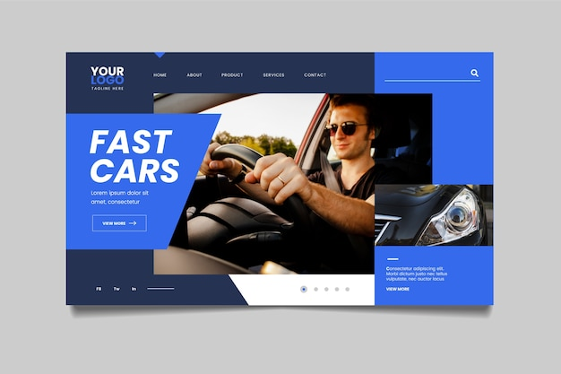 Landing page with photo of man in car