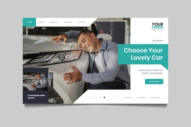 Landing page with photo of man hugging a car