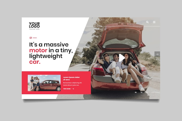 Landing page with photo of people in car