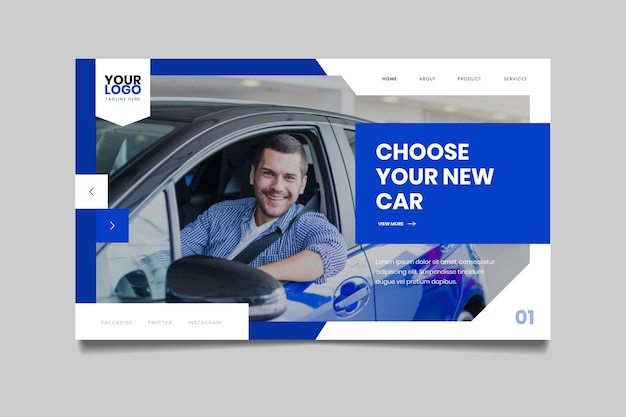 Landing page with photo of smiley man in car