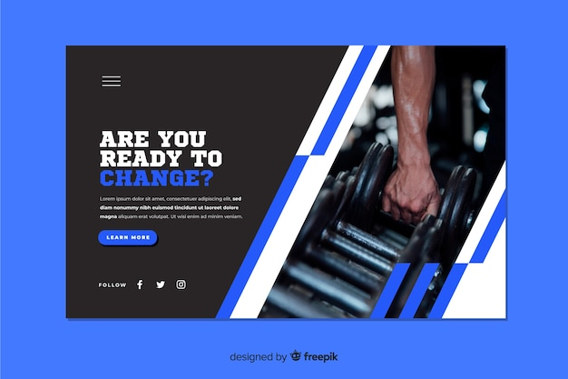 Landing page with photo