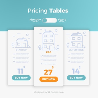 Landing page with pricing tables