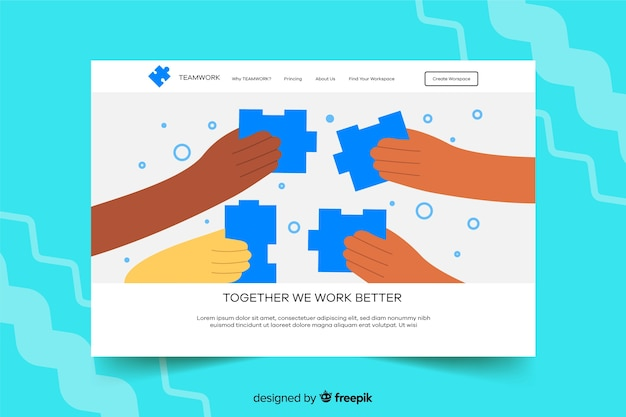 Landing page with puzzle pieces