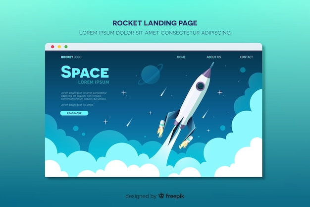 Landing page with rocket flying in space