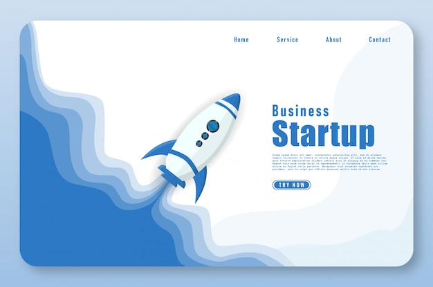 Landing page with rocket launch in papercut style