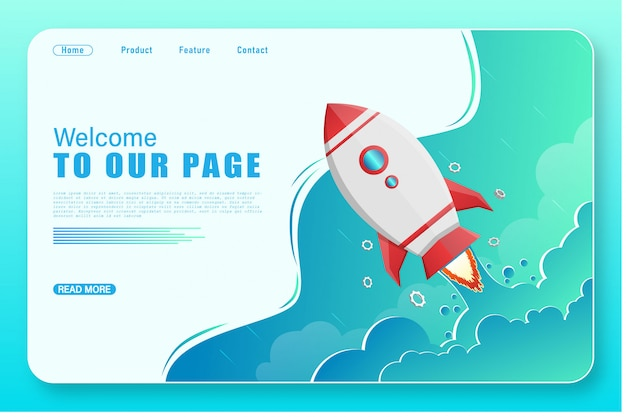 Landing page with rocket launch