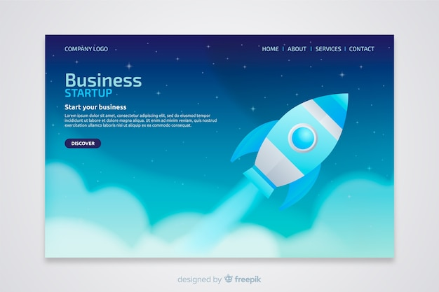 Landing page with a rocket lifting off