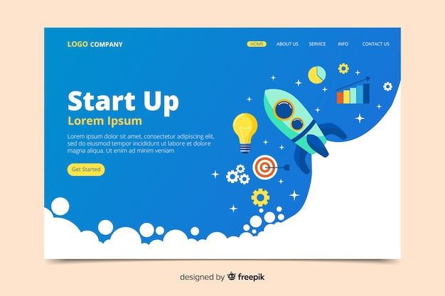 Landing page with rocket start up