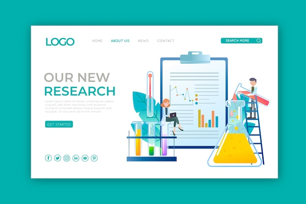 Landing page with scientific research
