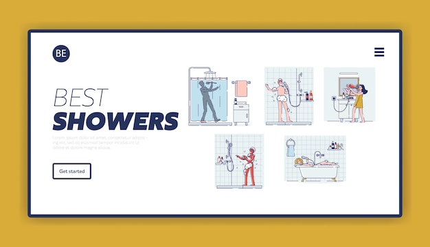 Landing page with set of people singing in bathroom