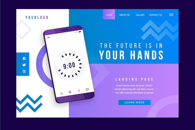 Landing page with smartphone concept for template