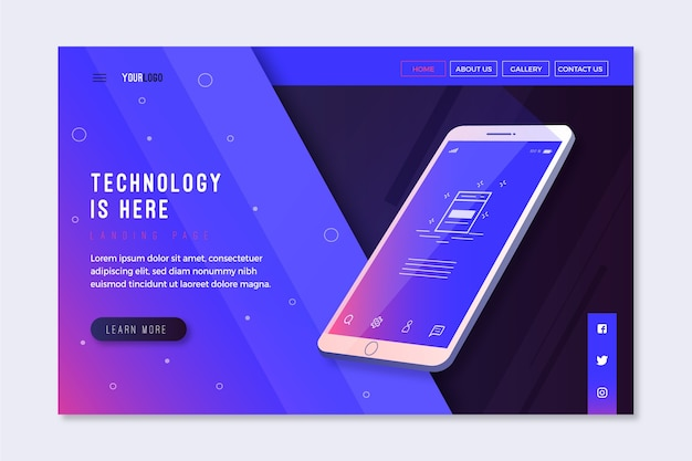 Landing page with smartphone design for template