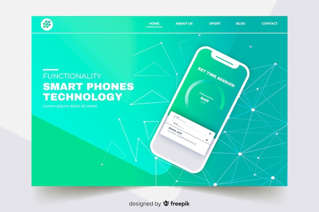 Landing page with smartphone on gradient green shades