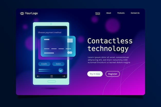 Landing page with smartphone neon design