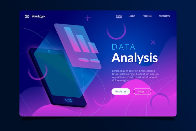 Landing page with smartphone neon style
