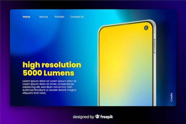 Landing page with smartphone in neon
