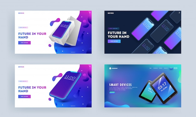 Landing page with smartphone and tablet on abstract background set.