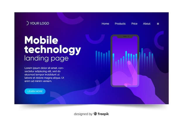 Landing page with smartphone template concept