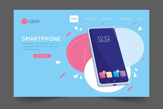 Landing page with smartphone template