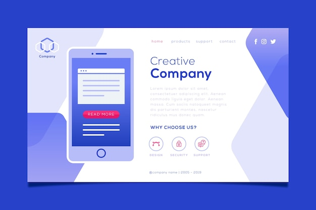 Landing page with smartphone for web site