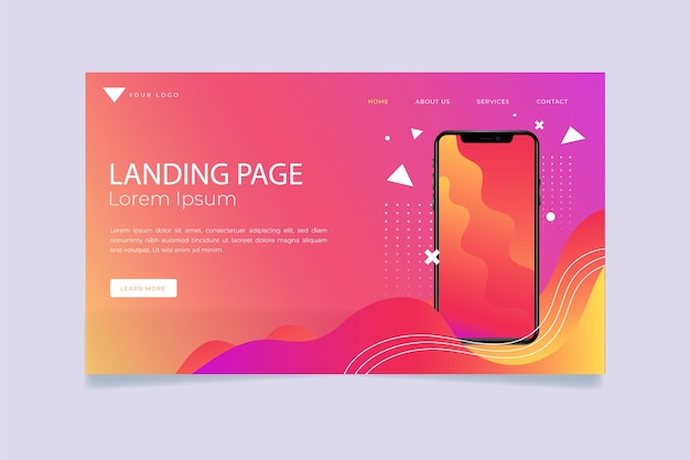 Landing page with smartphone with gradient