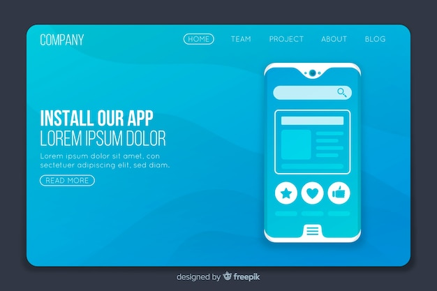 Landing page with smartphone
