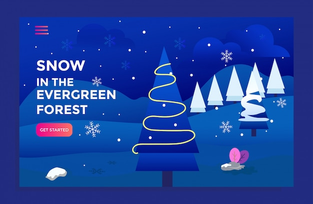 Landing page with snow evergreen forest illustration