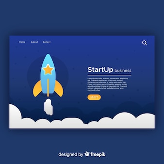 Landing page with startup concept