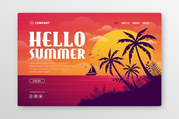 Landing page with summer illustration