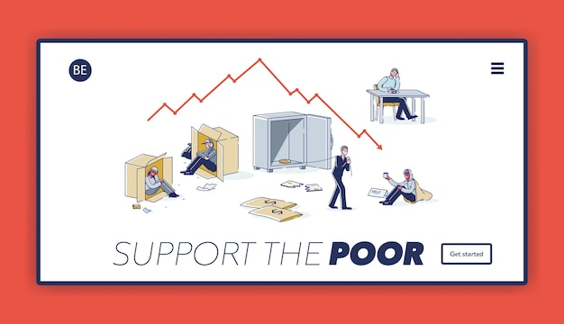 Landing page with support poor people concept. homeless, jobless and bankrupt characters need help, money and food