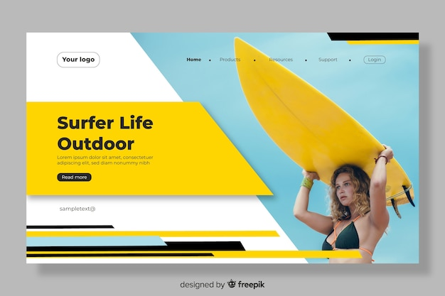 Landing page with surfer woman